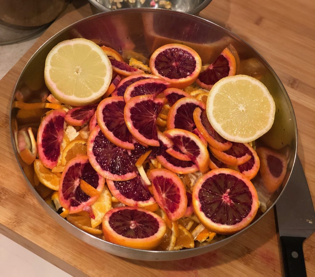 bowl of blood oranges, mandarines, and lemons